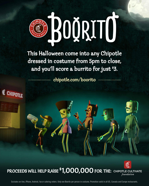 $3 Burritos At Chipotle On Halloween  CHIPOTLE CELEBRATES HALLOWEEN WITH BOORITO Chipotle