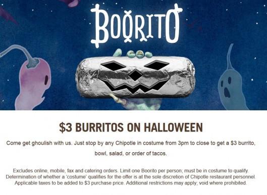 $3 Burritos At Chipotle On Halloween  Chipotle Burrito $3 on Halloween 10 31 Deal Seeking Mom