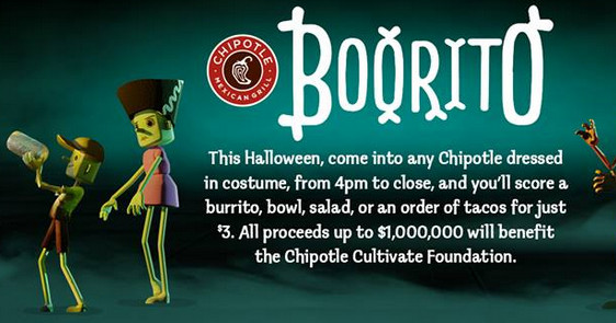 3 Chipotle Burritos Halloween  Chipotle $3 Burritos Bowls and More October 31 My