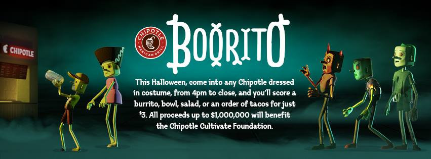3 Chipotle Burritos Halloween  Chipotle Burrito Bowl Salad or Order of Tacos ly $3