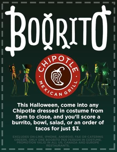 3 Chipotle Burritos Halloween  Chipotle Halloween $3 Burrito Bowl Taco or Salad $3 00