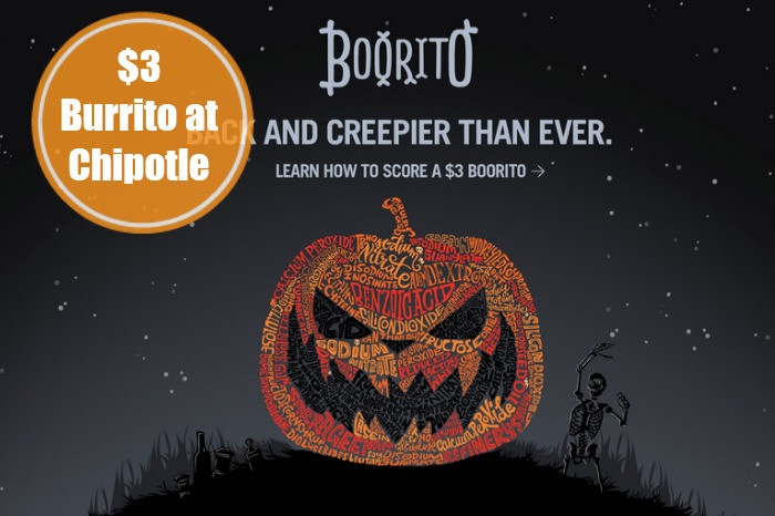 3 Chipotle Burritos Halloween  $3 00 Chipotle Burrito on Halloween 5pm CloseLiving