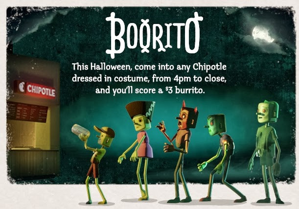 3 Chipotle Burritos Halloween  News Chipotle e in Costume for $3 Burrito on