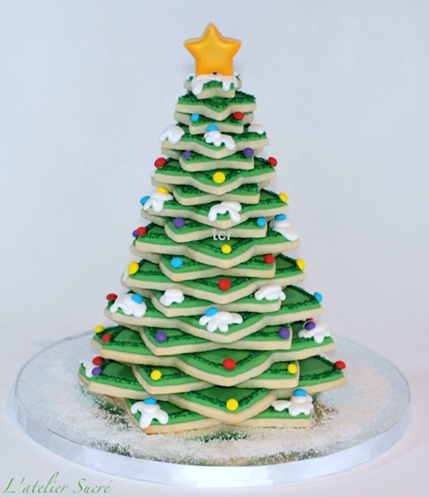 3D Christmas Tree Cookies  6 X 3D CHRISTMAS TREE STAR DECORATION CUTTERS COOKIE