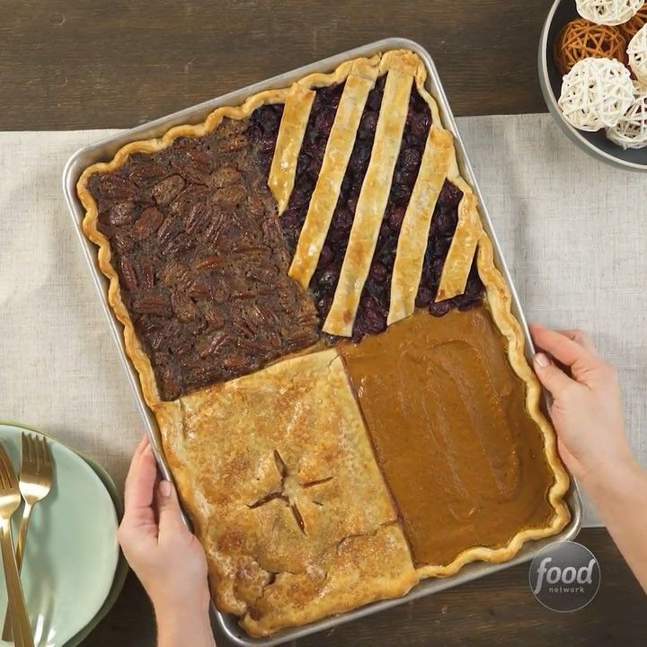 "4 Thanksgiving Pies On One Sheet Tray  Food Network on Instagram ""4 Thanksgiving Pies on ONE"