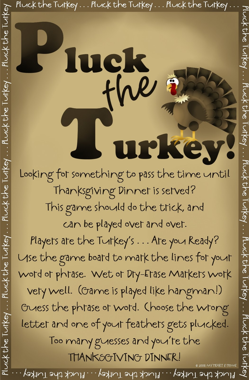 A Turkey For Thanksgiving Activities  Prepared NOT Scared PLUCK The Turkey