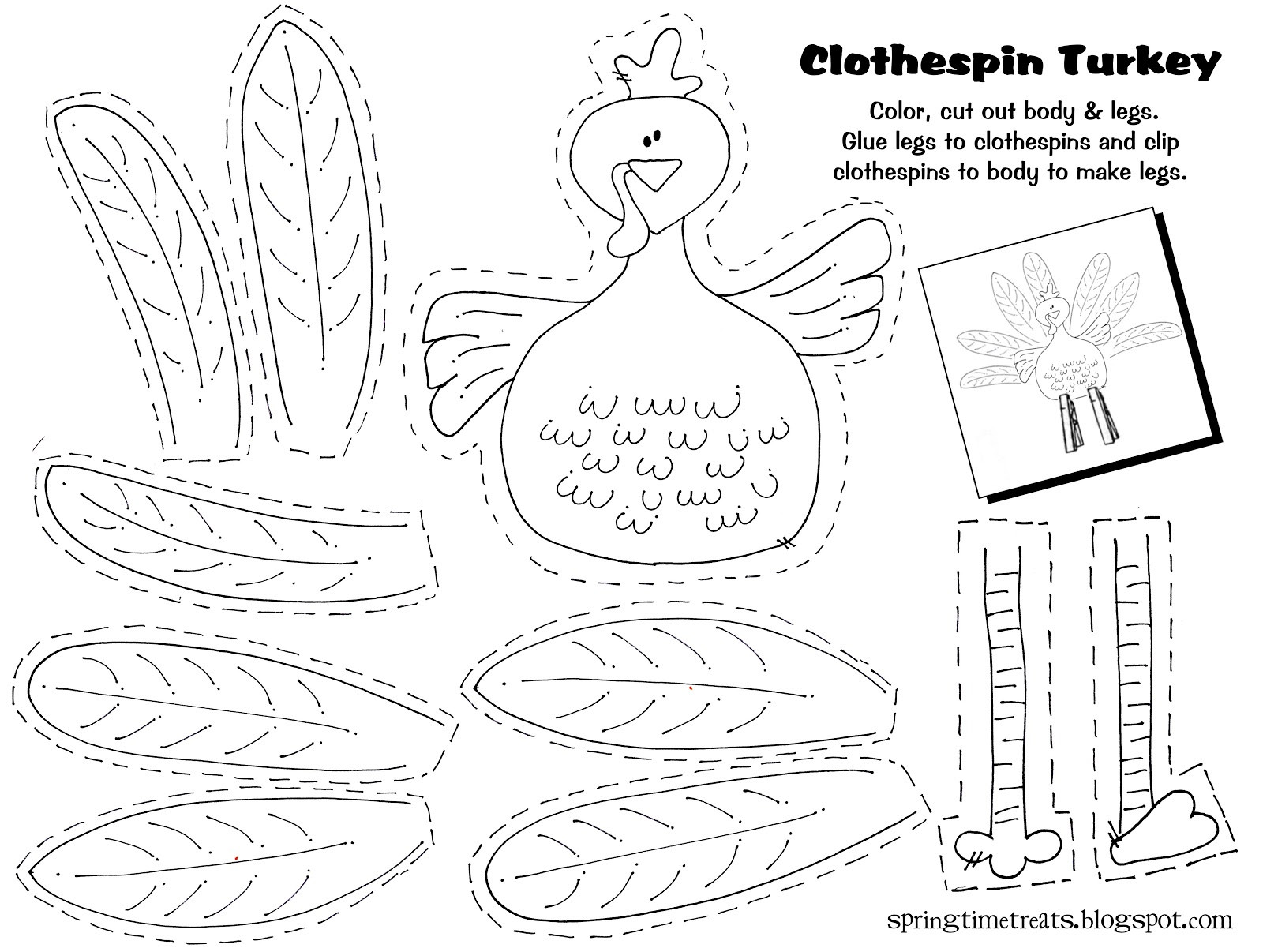 A Turkey For Thanksgiving Activities  Spring Time Treats Clothespin Turkey