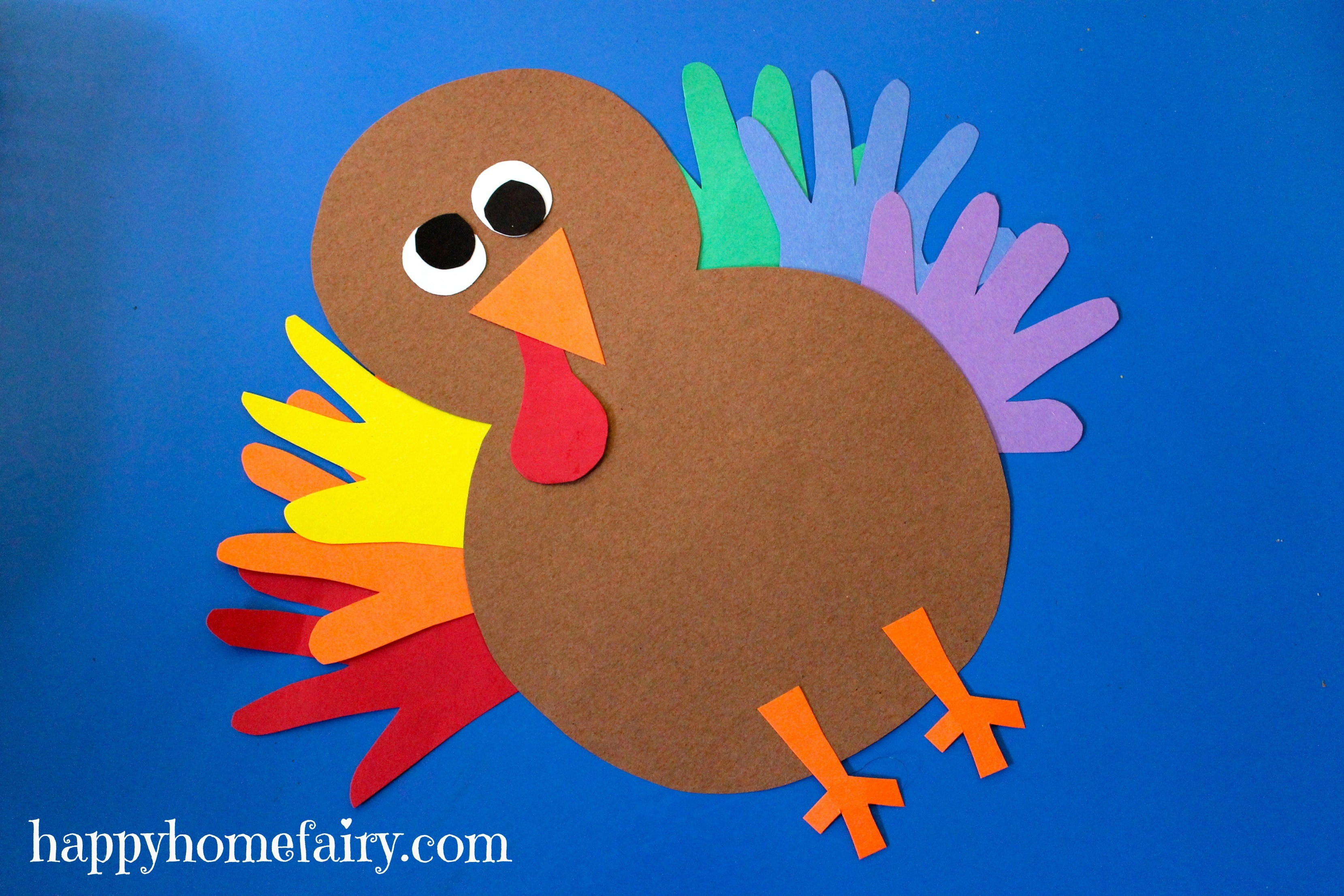 A Turkey For Thanksgiving Activities  Thankful Handprint Turkey Craft FREE Printable Happy