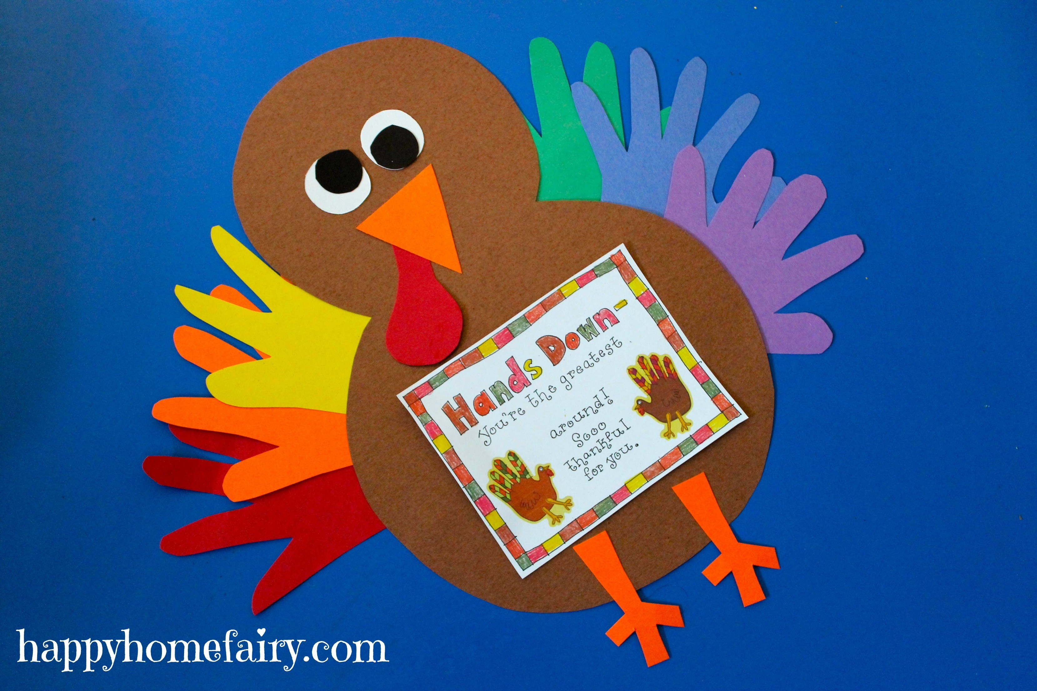 A Turkey For Thanksgiving Activity  Thankful Handprint Turkey Craft FREE Printable Happy