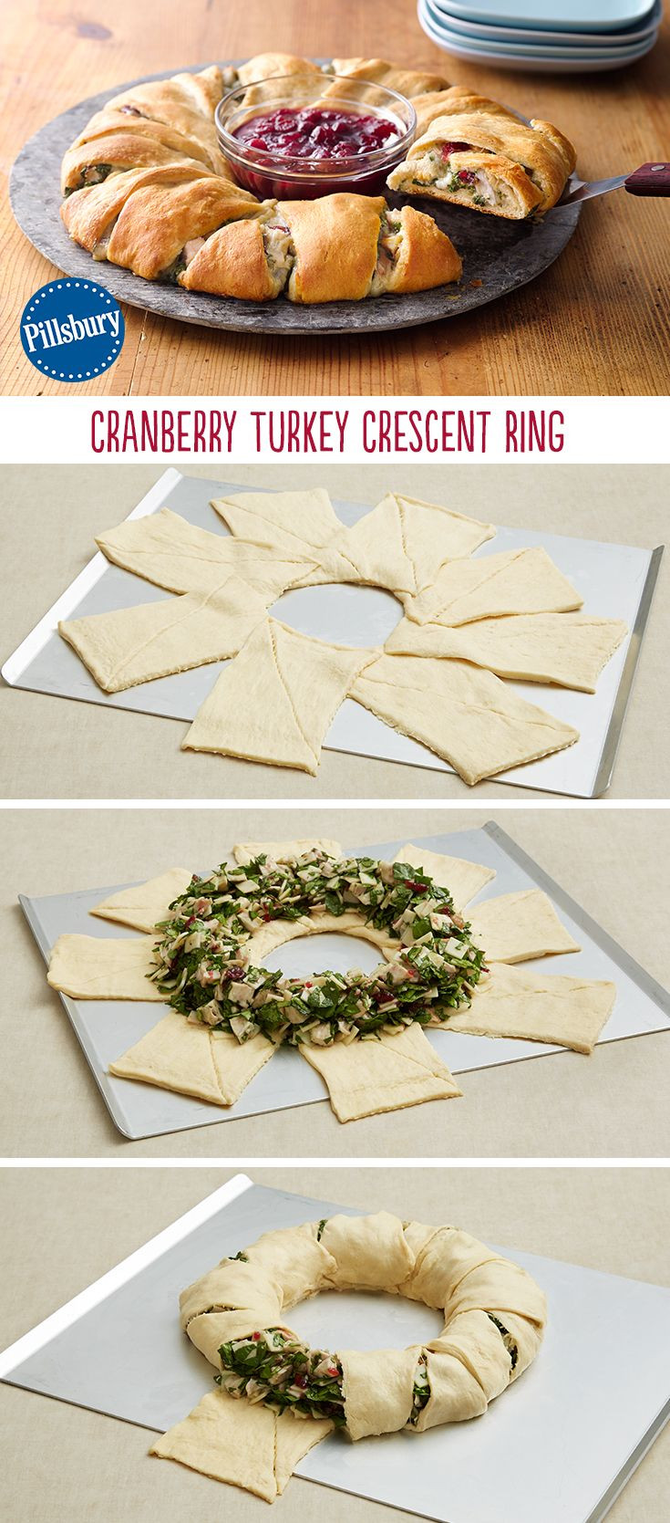 After Thanksgiving Turkey Recipes  Cranberry Turkey Crescent Ring Recipe