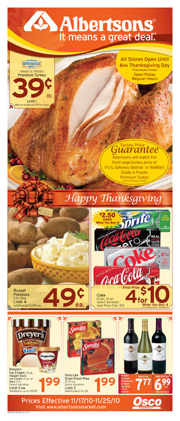 Albertsons Thanksgiving Dinners Prepared  Alicia s Deals in AZ The Thanksgiving Grocery Ads This Week