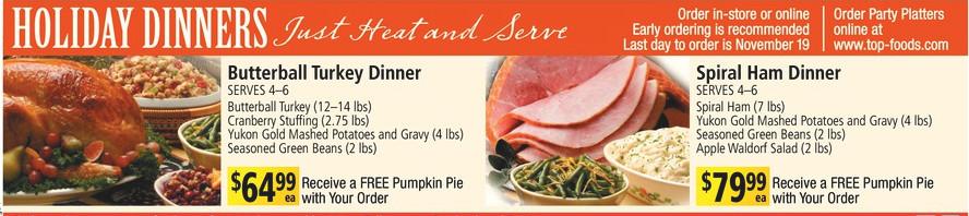 Albertsons Thanksgiving Dinners Prepared  A Meyers Thanksgiving hallbackuper