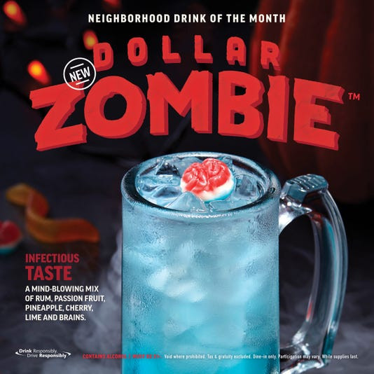 Applebees Halloween Drinks  Applebee s Dollar Zombie drink is a Halloween treat with a