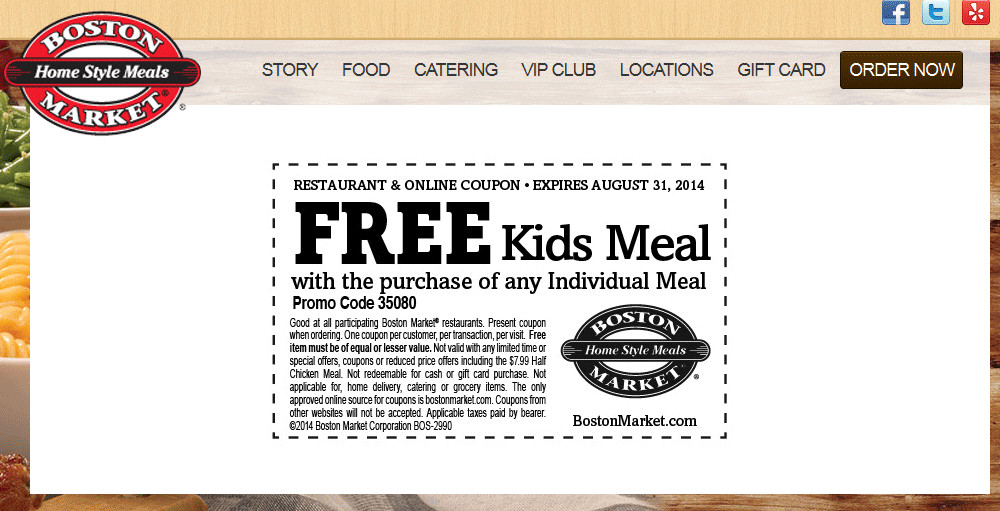 Boston Market Thanksgiving Dinner 2019  Boston Market Coupons Free kids meal with yours at