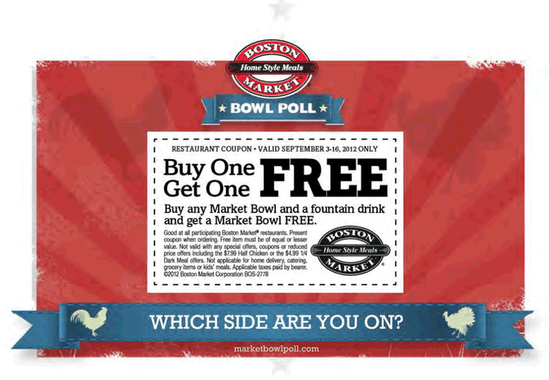 Boston Market Thanksgiving Dinner 2019  Boston Market Coupons Second market bowl free with your