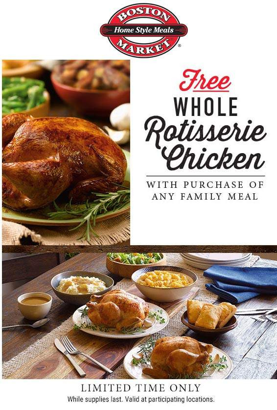 Boston Market Thanksgiving Dinner 2019  Boston Market Coupons Whole chicken free with your