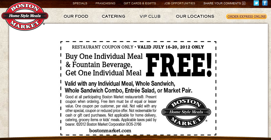 Boston Market Thanksgiving Dinner 2019  Boston Market Coupons Second meal free with your drink