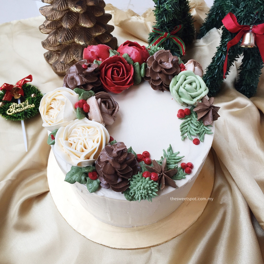 Buttercream Christmas Cakes  Bespoke Buttercream Flower Cakes – The Sweet Spot