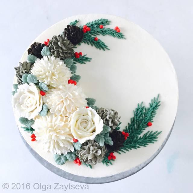 Buttercream Christmas Cakes  Buttercream Pinecone Christmas Wreath cake CakesDecor