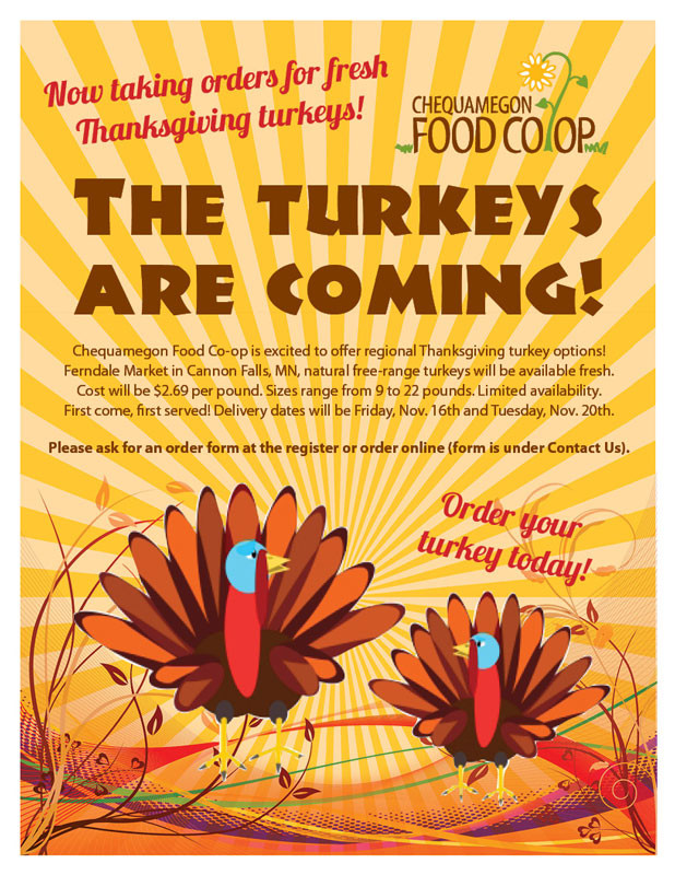 Buying Thanksgiving Turkey  Order Turkeys line Chequamegon Food Co op