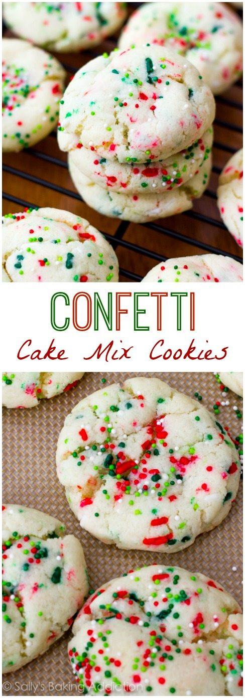 Cake Mix Christmas Cookies  Confetti Cake Batter Cookies Sallys Baking Addiction
