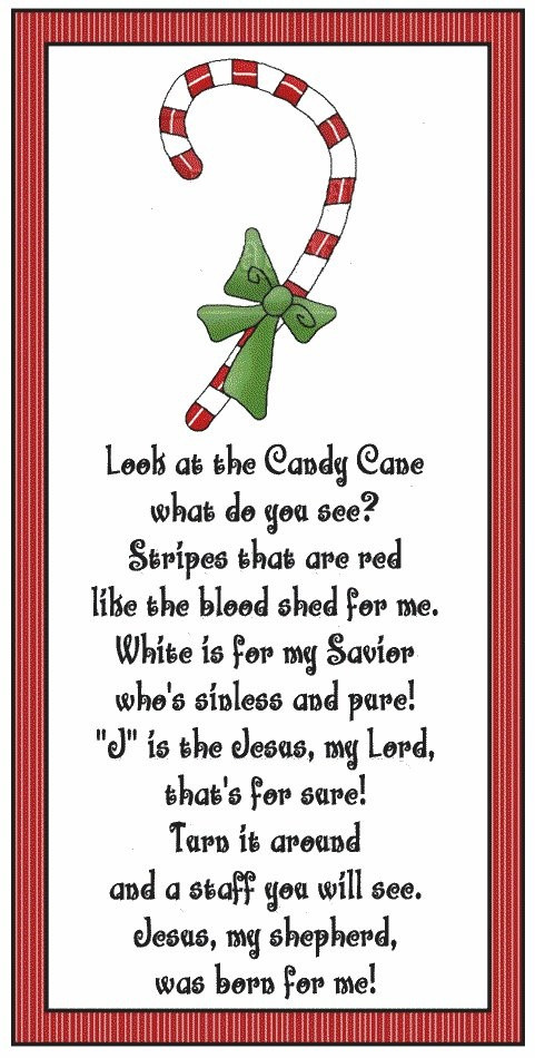 Candy Cane Christmas Poem  Meaning of the candy cane