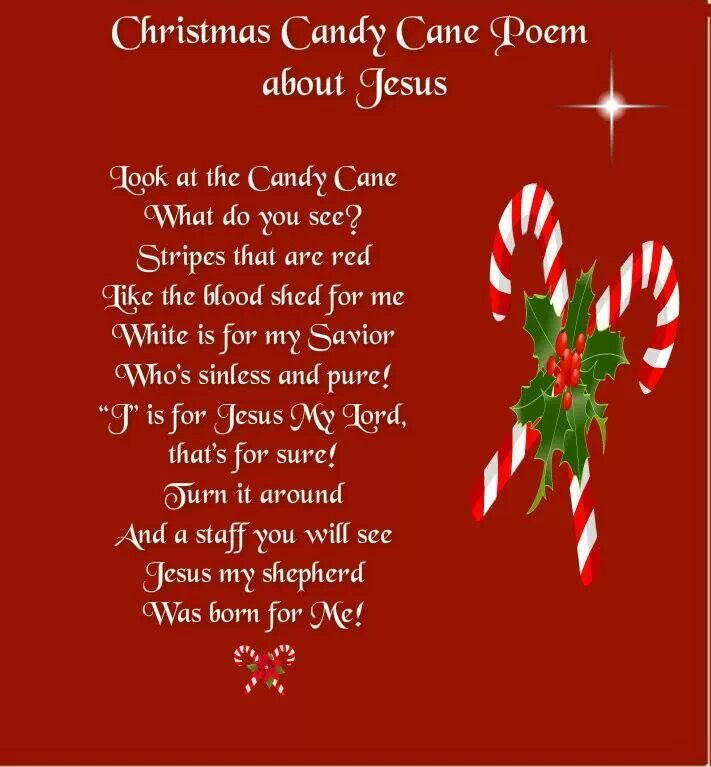 Candy Cane Christmas Poem  Christmas Candy Cane Poem About Jesus