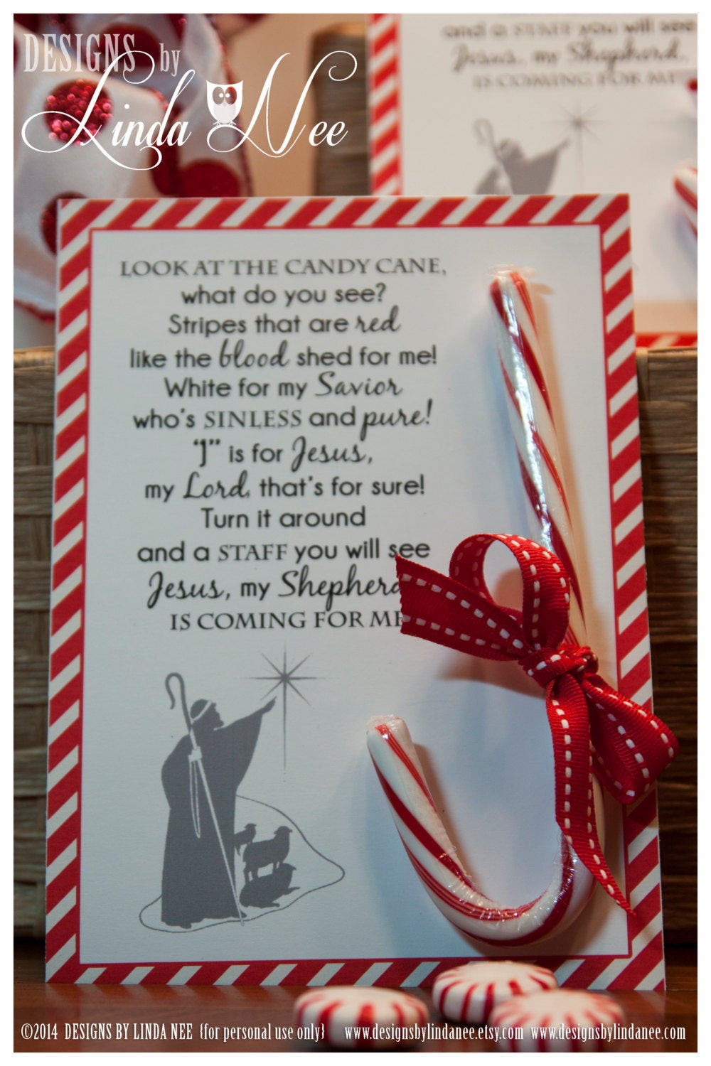 Candy Cane Christmas Poem  Legend of the Candy Cane Card for Witnessing at Christmas