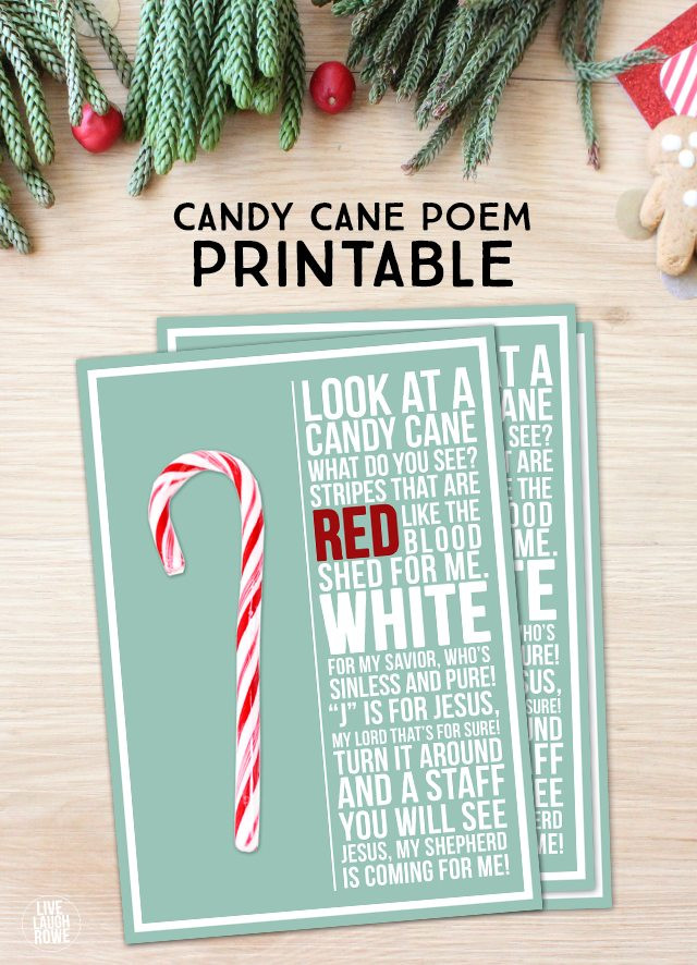 Candy Cane Christmas Poem  Candy Cane Poem Printable Live Laugh Rowe