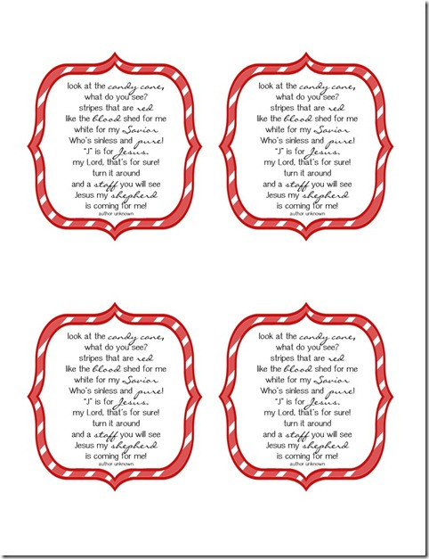 Candy Cane Christmas Poem  Delightful Order Free Printable Candy Cane Poem