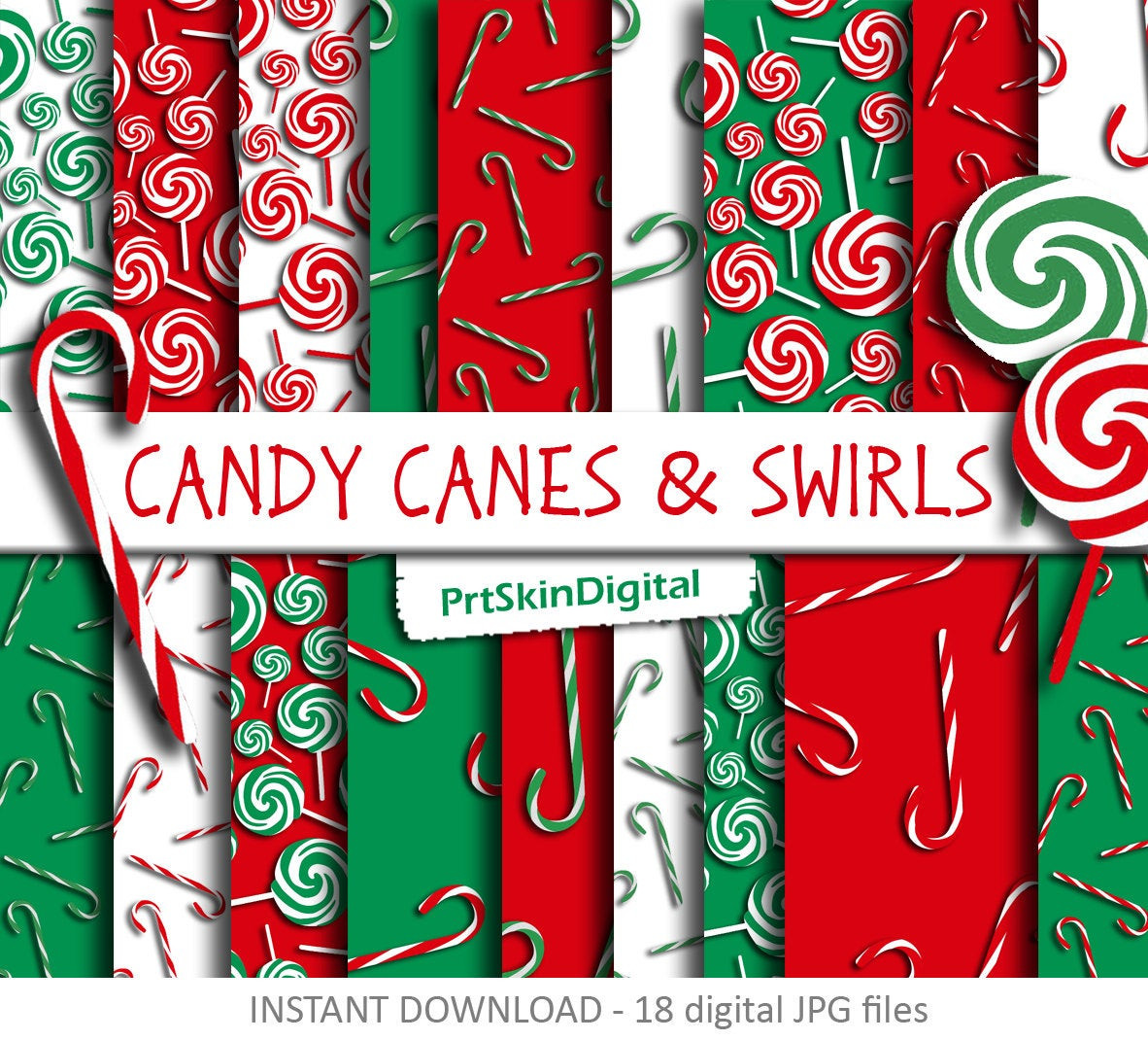 Candy Cane Christmas Shop  Christmas Digital Paper Candy Canes & Swirls with