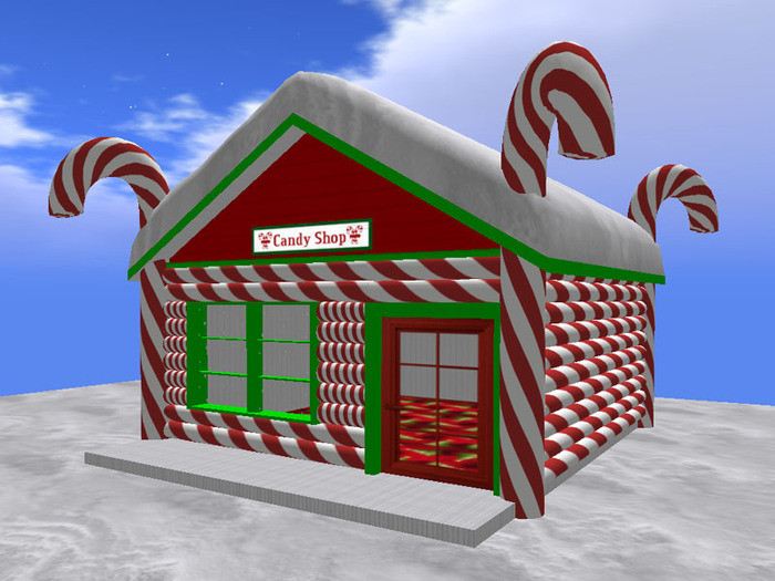 Candy Cane Christmas Shop  Second Life Marketplace RE Candy Shop w Snow Roof