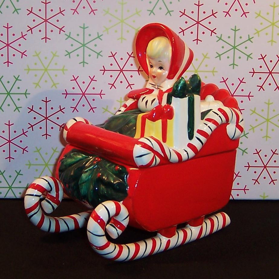 Candy Cane Christmas Shop  Excellent Lefton Candy Cane Sleigh Christmas Girl Candy