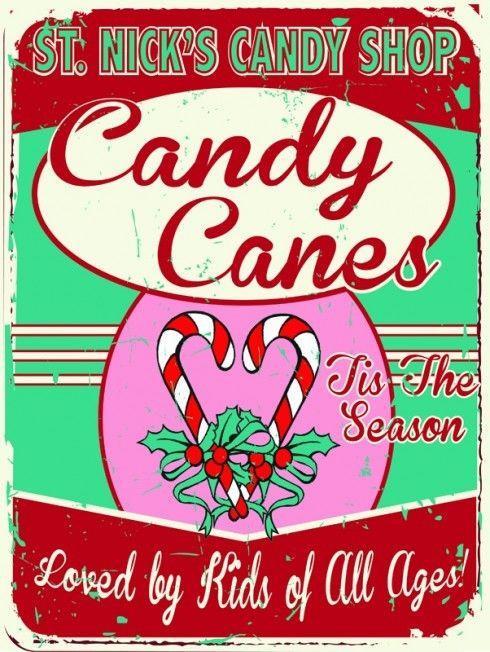 Candy Cane Christmas Shop  ST Nicks Candy Shop Metal Sign Holiday Treats Retro