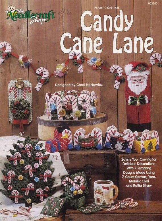 Candy Cane Christmas Shop  Candy Cane Lane Christmas Decor Plastic Canvas Pattern
