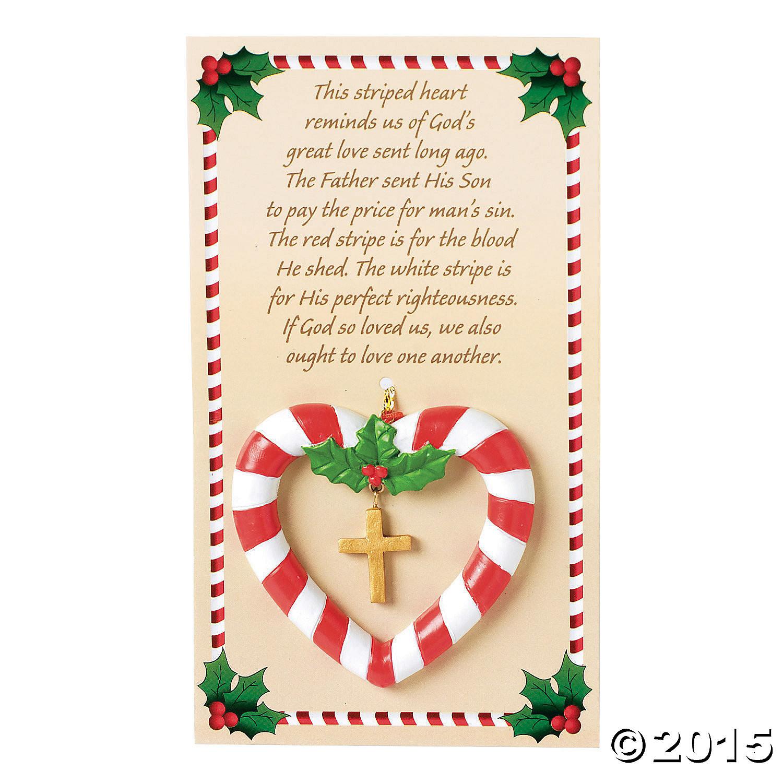 Candy Cane Christmas Shop  Religious Candy Cane Heart Christmas Ornaments 12 Pk