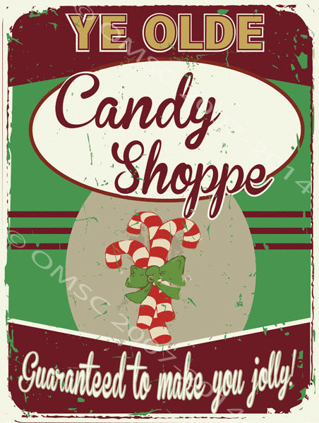 Candy Cane Christmas Shop  Ye Olde Candy Shoppe Metal Sign Sweet Christmas Mint