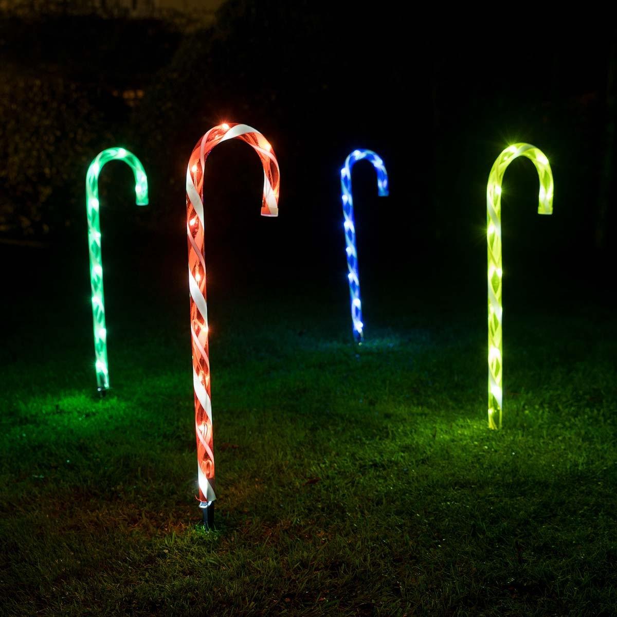 Candy Cane Led Christmas Lights  4 x 40 LED Candy Cane Christmas Lights Light Up Garden