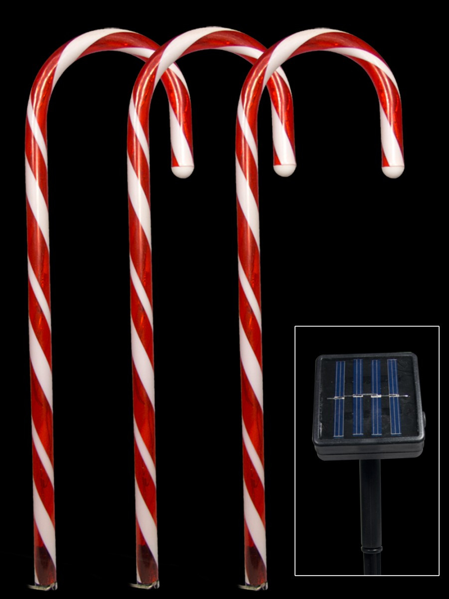 Candy Cane Led Christmas Lights  5 Red Led Candy Cane Solar Stake Light 54cm