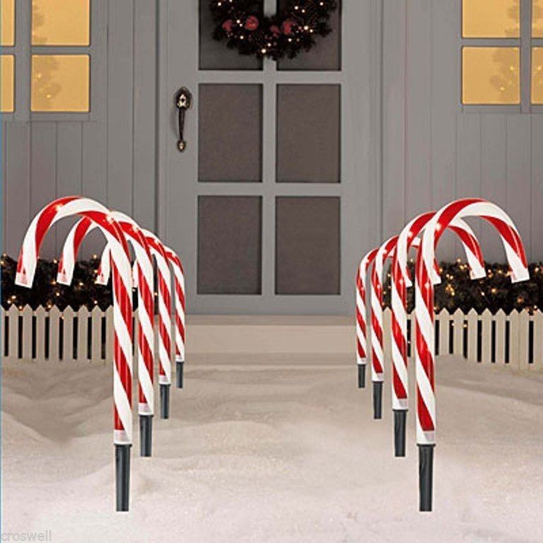 """Candy Cane Led Christmas Lights  8 PC CHRISTMAS LIGHTED 10"""" TALL CANDY CANES PATH LIGHTS"""