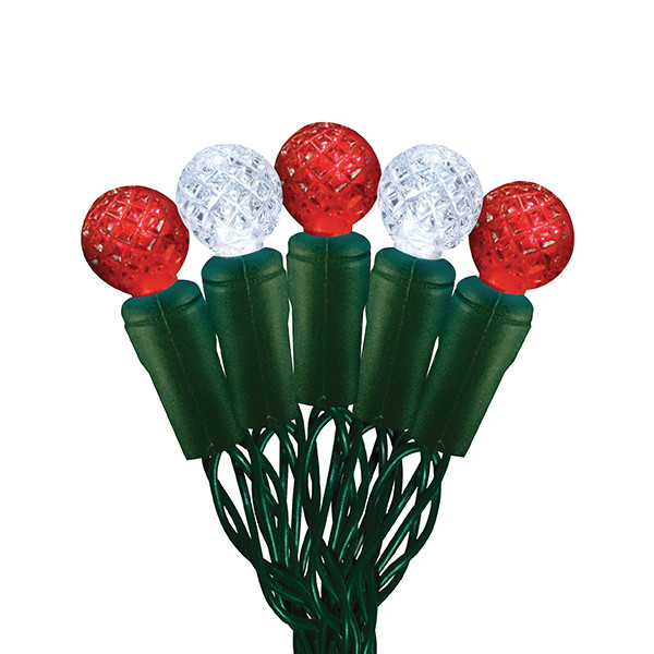 Candy Cane Led Christmas Lights  G12 Red and Pure White Candy Cane LED Light String 70