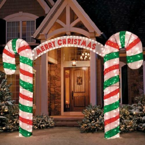 "Candy Cane Outdoor Christmas Decorations  New 10"" W Lighted Merry Christmas Candy Cane Archway"