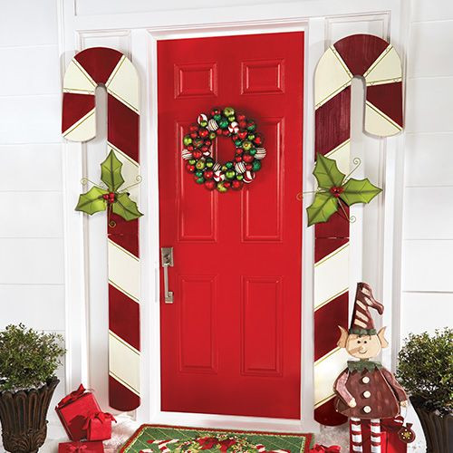 Candy Cane Outdoor Christmas Decorations  Wooden Candy Canes Set of 2 Assorted
