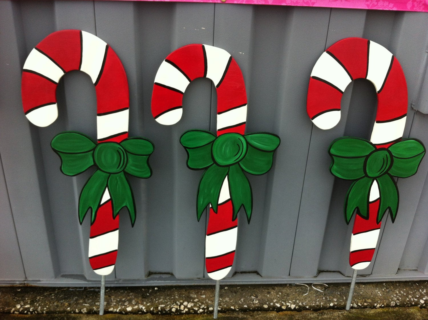 Candy Cane Outdoor Christmas Decorations  4 Candy Canes Holiday Yard Decor Yard art Yard signs