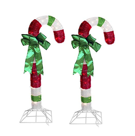 Candy Cane Outdoor Christmas Decorations  4 Foot Lighted Tinsel Candy Cane Outdoor Christmas Lights