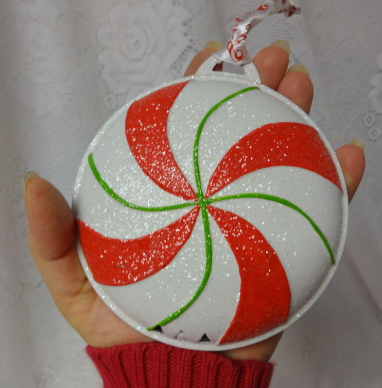 Candy Christmas Ornaments  Vintage Christmas ORNAMENTS PEPPERMINT CANDY CANE Metal