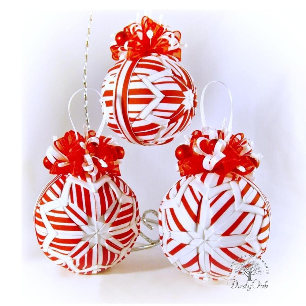Candy Christmas Ornaments  candy cane stripes peppermint Christmas ornaments by DustyOak