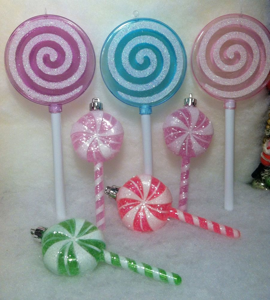 Candy Christmas Ornaments  7 Lollipop Candy Christmas Tree Ornaments Pink Purple