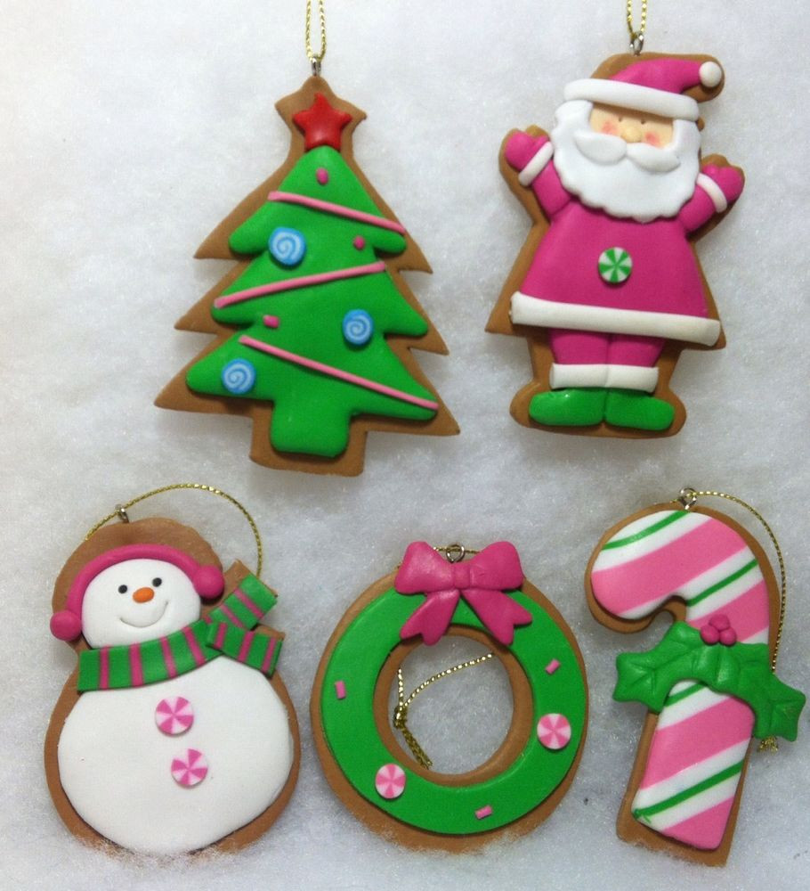 Candy Christmas Ornaments  Gingerbread Cookie w Pink Santa Snowman Candy Cane