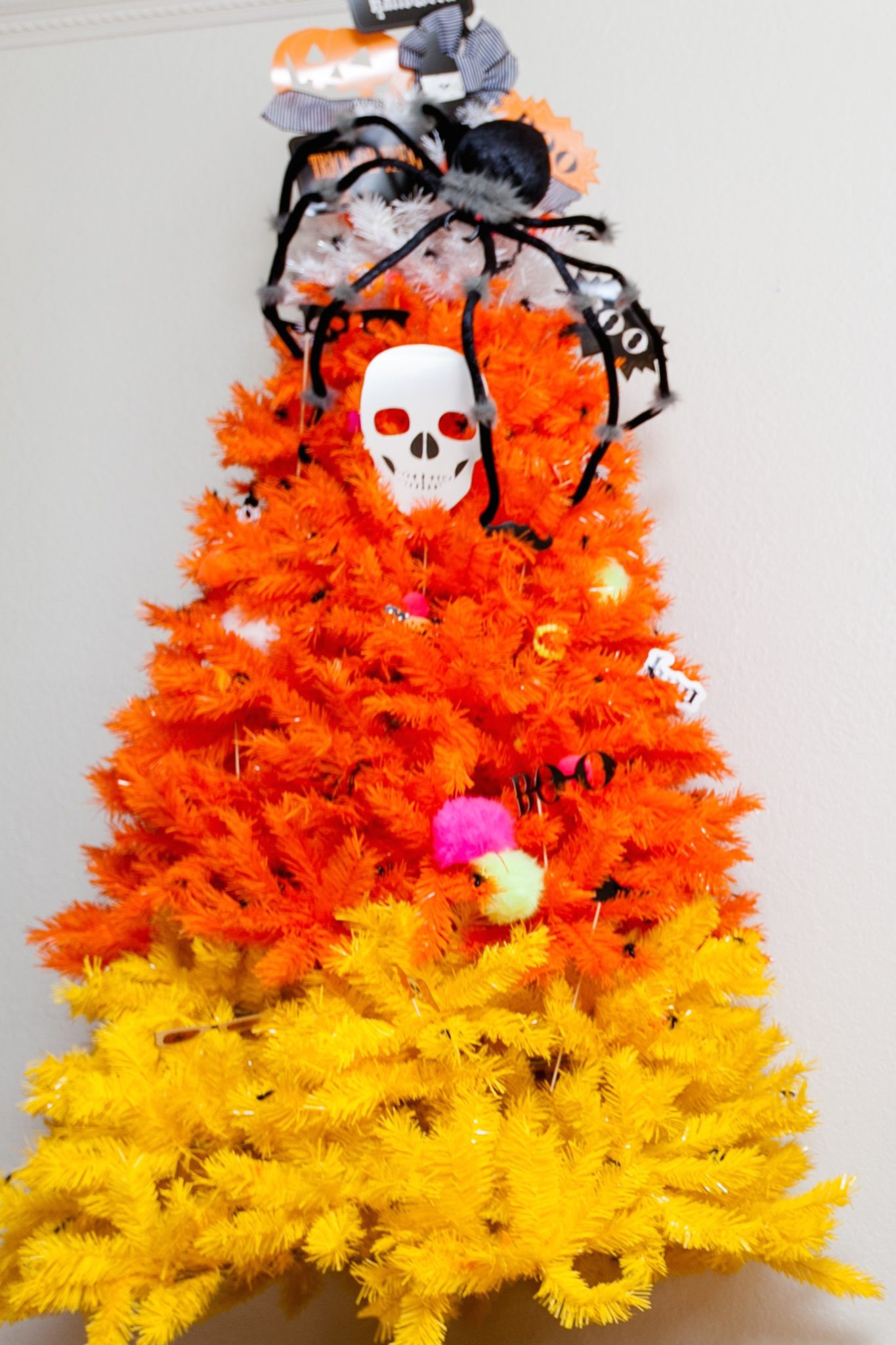 Candy Corn Christmas Tree  How to Decorate a Halloween Candy Corn Tree Jennifer Perkins